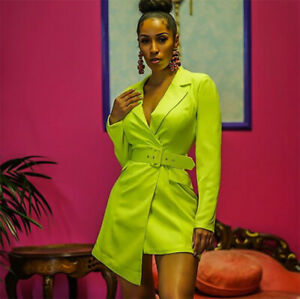 Neon-Green-amp-Pink-Collared-Belted-Blazer-Mini-Dress-Size-6-14-Boutique