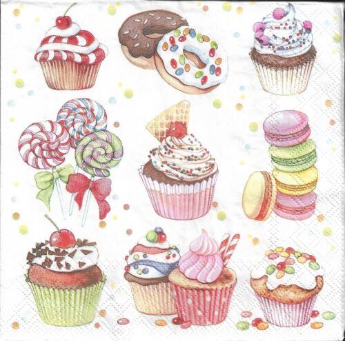 Lot de 2 Serviettes en papier Cupcakes /& Bonbons Decoupage Collage Decopatch