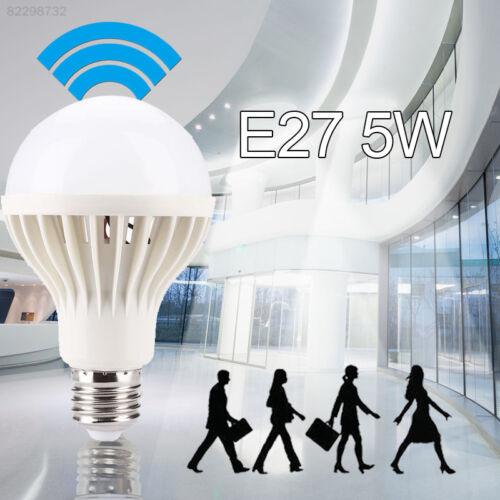 DC4E CE9D Auto PIR Motion Detection LED Bulb E27 5W Cool White Plastic And Metal