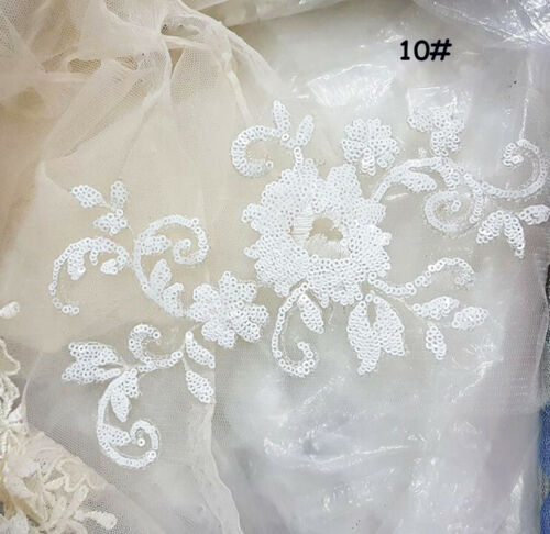 Floral Wedding Gown Trim Embroidery Corded Motif Beaded Bridal Lace Applique 1PC