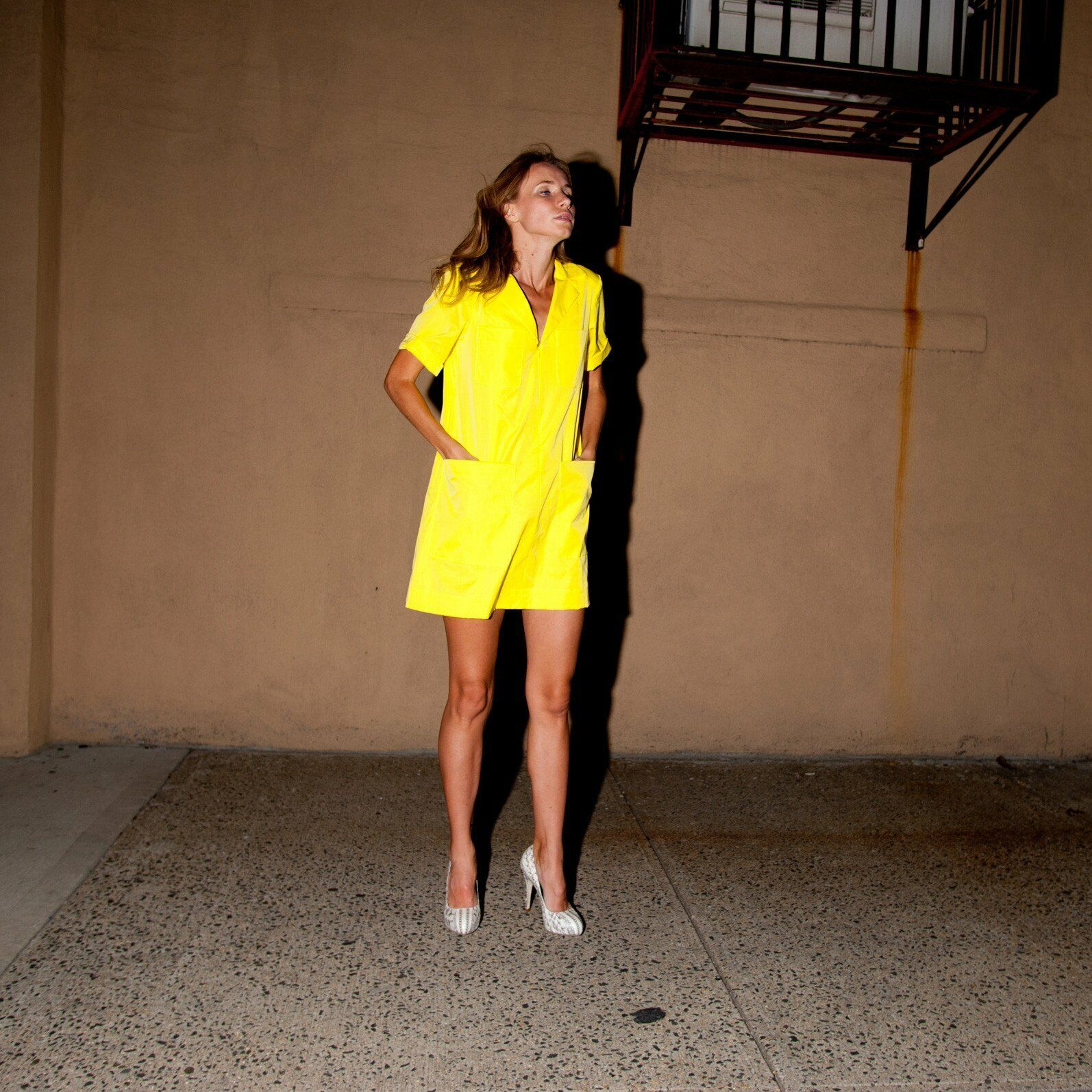 NWT NANETTE LEPORE Yellow Shift Front Zip Up Shirt Dress Size S Made in USA