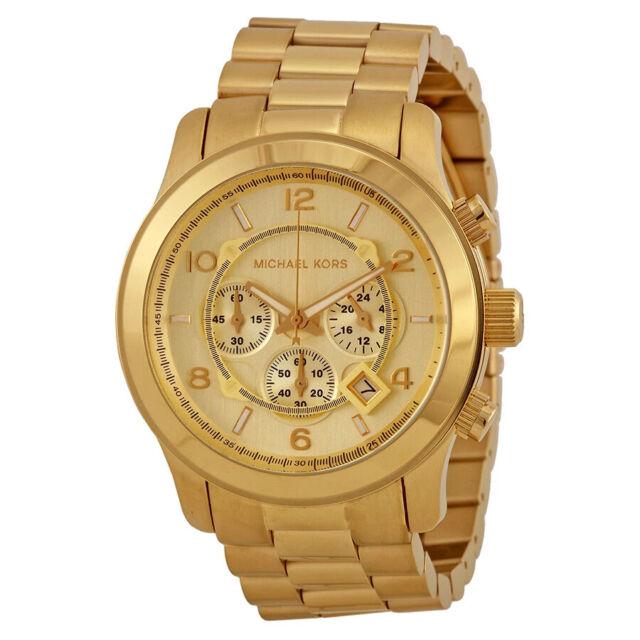 Michael Kors MK8077 Runway Gold-Tone Stainless Steel Chronograph Mens Watch