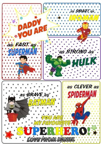 Superhero Fathers Day Personalised Print A4 Gift DAD GRANDDAD UNCLE COMIC BOOK