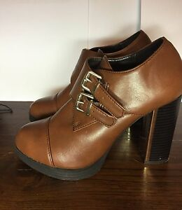 1c7f3de69a6 Image is loading Forever-21-brown-high-heel-boots-6-5-