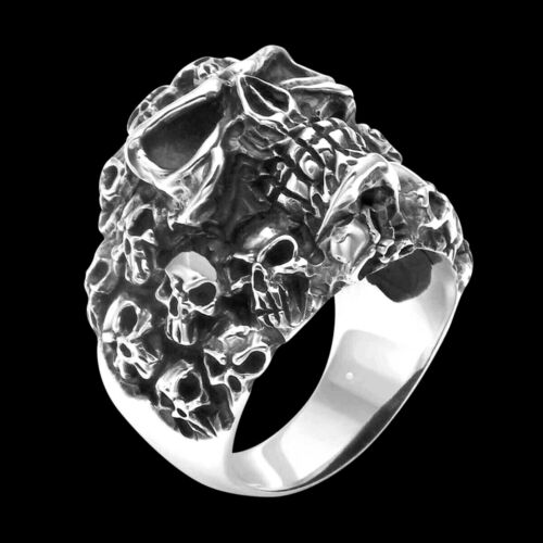R662 Sterling Silver Pile of Skull Ring
