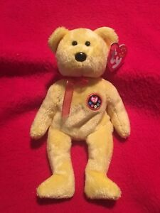 2984f399ade New TY Beanie Babies Original TRADEE the Yellow Bear ~ MWMT Mint w ...