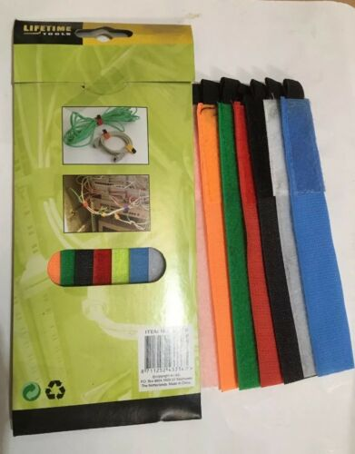 """5 x velcro type coloured strips 61//2/"""" long for fastening cables 8pce = 40"""