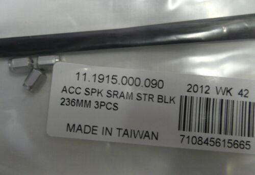 3 x SRAM S80 STRAIGHT PULL FRONT 700c WHEEL SPOKES BLACK AERO FLAT 236mm