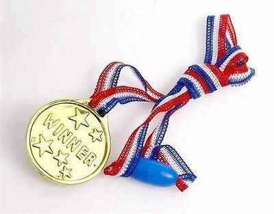 40x Children Gold Plastic Winners Medals,Sports Day,Party Bag,Prize Awards,Toys