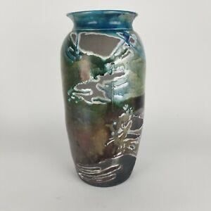 Large Raku Studio Pottery Vase Turquoise Blue Drip Glaze Contemporary Floor 18in