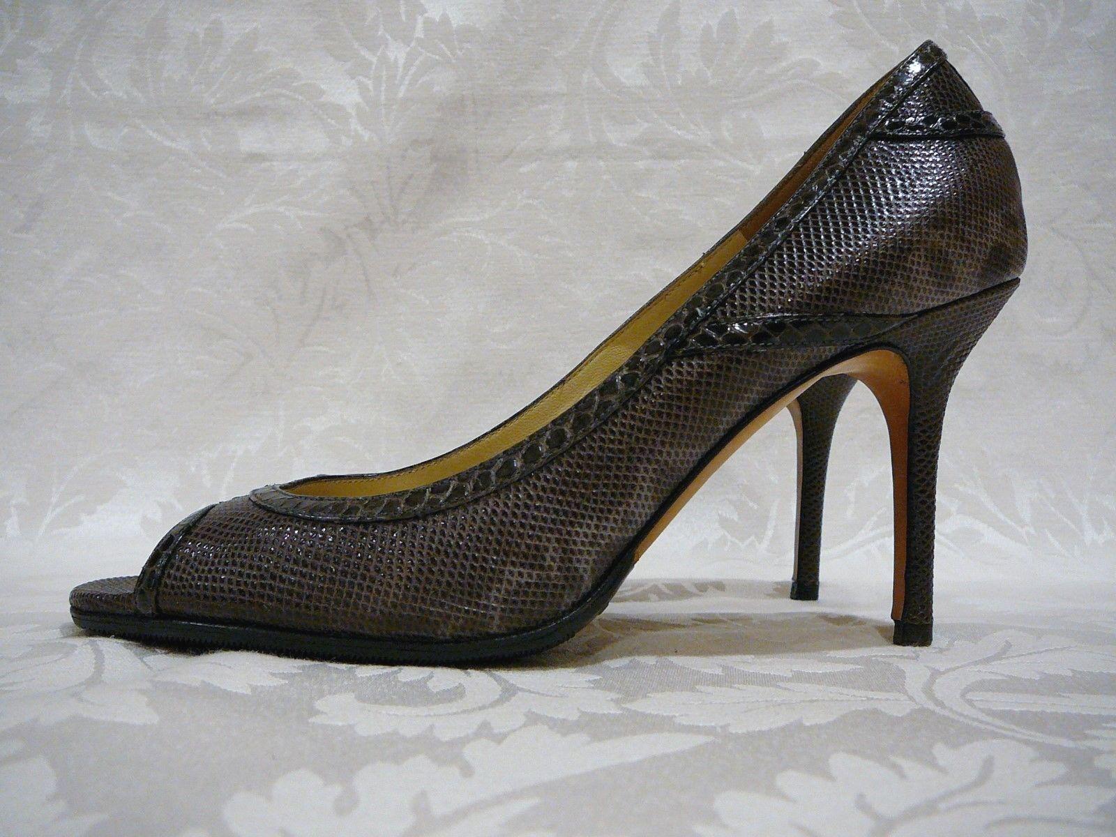 Jimmy Choo High Heels Peau de Serpent Bout Ouvert Escarpins T 38 1 2 US 8 1 2 Made in