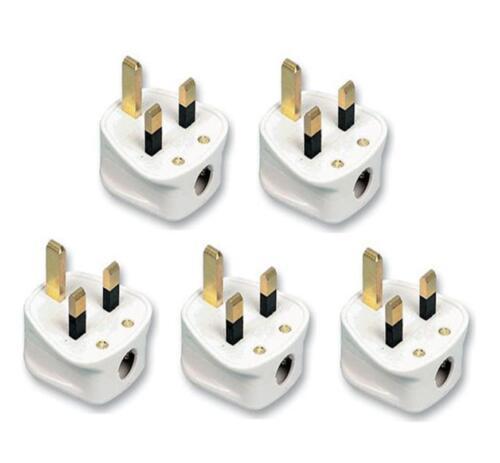 5 X 13AMP UK 3 broches soudées blanc secteur Plastique Plug 13 A Pack Socket vrac PIF2044