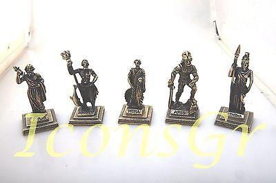 Ancient Greek Olympian God Miniature Sculpture Statue Zamac Ares King War Gold
