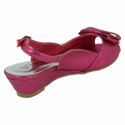 H1089 GIRLS SPOT ON MID WEDGE BOW DETAIL PEEP TOE BUCKLE STRAP PARTY SANDALS