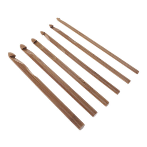 12Pc Big poignée en bambou Crochet Fil Handcrafted Aiguilles à Tricoter À faire soi-même 3-10 mm
