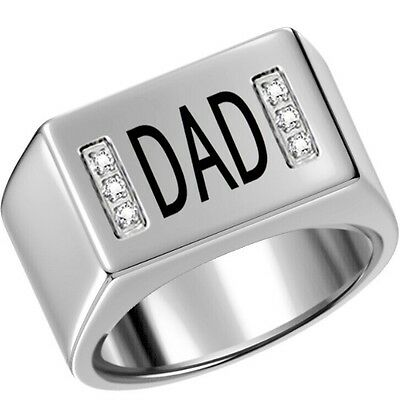 Size 7-15 Stainless Steel Ring Signet DAD Father Day Christmas Gift Graduation