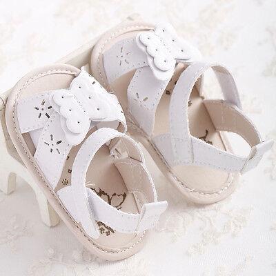 Newborn Baby Girls Leather Sandals Toddler Prewalkers Kids Soft Crib Sole Shoes