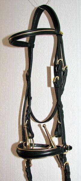 FSS German COMFORT Baroque gold PIPING Padded DROP Noseband Dressage Bridle NEW
