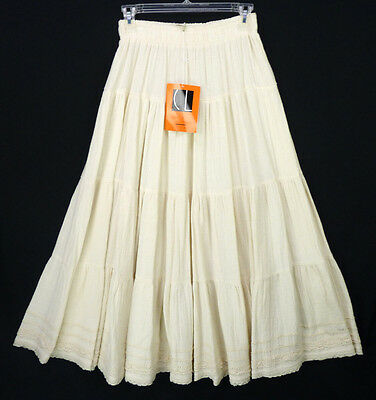 Vintage 90s Carole Little Natural Linen Romantic Maxi Boho Broomstick Skirt S