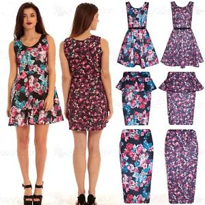 Oops Outlet New Women Ladies Pencil Midi High Waisted Skirt Floral Bodycon Wiggle Tube Plus Sizes UK 8-22