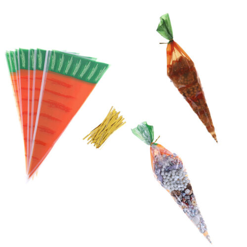 20pcs Easter Carrot Candy Bags Easter Gift Bags Plastic Candy Cones Bags NEW