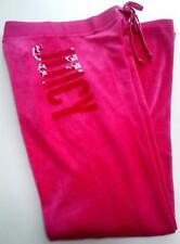 JUICY COUTURE PINK SEQUIN BLING LOGO VELOUR SWEATPANTS XS 6 8 £105!