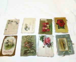 8-Vintage-Greetings-Postcards-Violets-Birds-Roses-Birthday