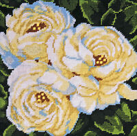 Needlepoint Kit Design Works White Roses On Black Picture / Pillow Dw2515