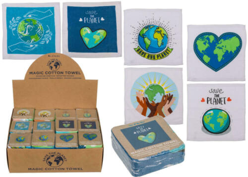 Details about  /Magic cotton towel 30 x 30 cm Save the Planet ca