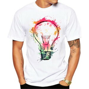 Fashion-Men-039-s-Colourful-Bulb-Printed-Short-Sleeve-T-Shirts-Casual-Crew-Neck-Tops
