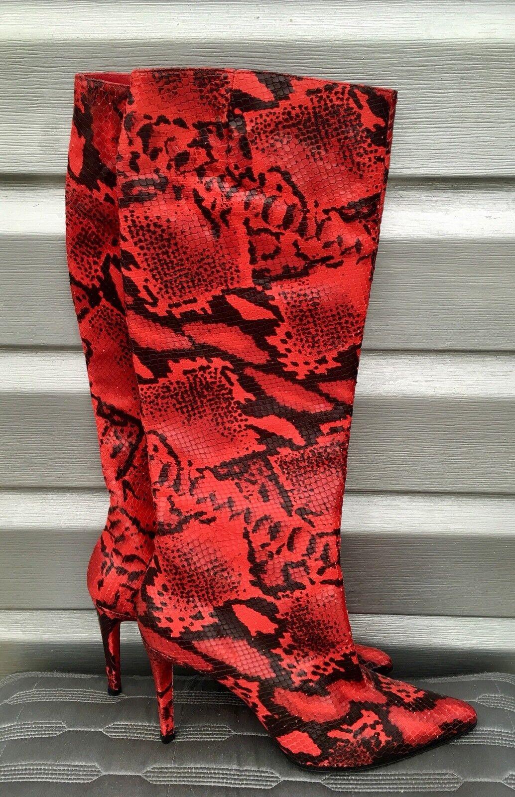 CHARLES JOURDAN rojo Snakeskin Python Knee High Pointed Toe Leather botas RARE