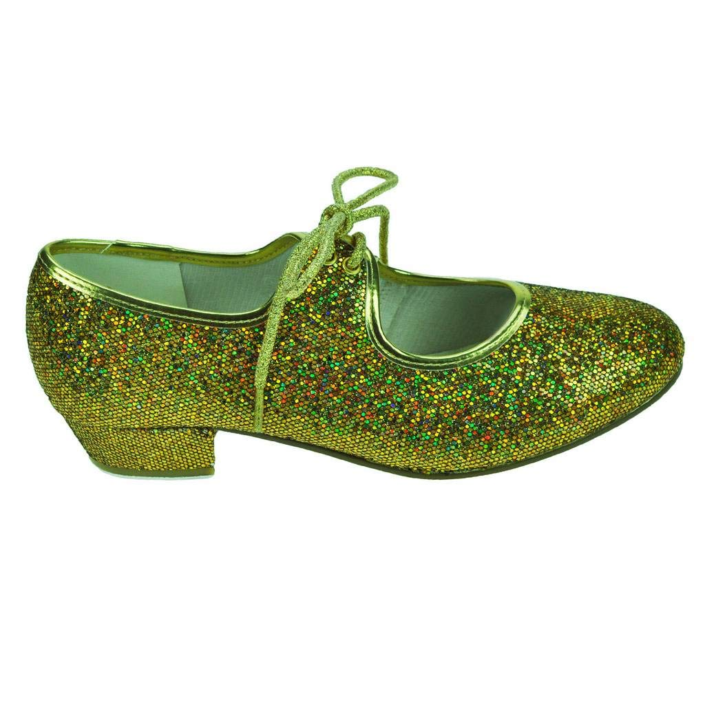 Gold hologram Starlite Maisie low heel tap shoes -with heel and toe taps