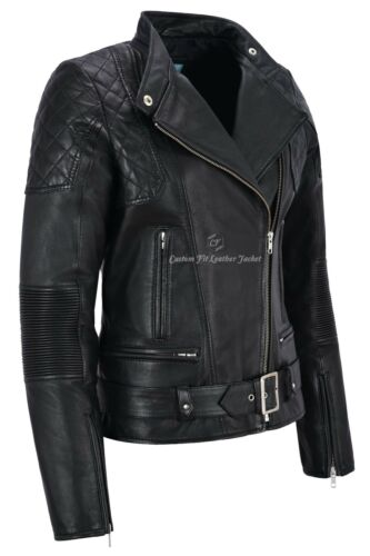 Women Leather Jacket Black Napa Quilted Shoulder Biker Motorcycle Style Charlie