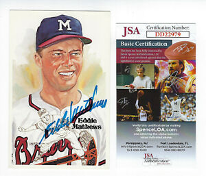 BRAVES-Eddie-Mathews-signed-1985-Perez-Steele-postcard-JSA-COA-AUTO-Autographed