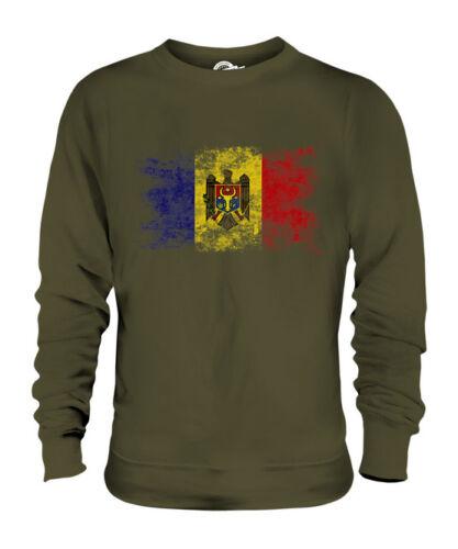 MOLDOVA DISTRESSED FLAG UNISEX SWEATER TOP MOLDOVAN SHIRT FOOTBALL JERSEY GIFT