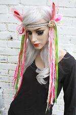 Pink Dreaded Wool Dread Hippy Grunge Indie Plait Headband Pastel Goth Hairfall