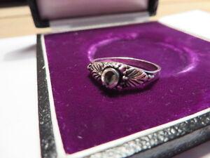 925-Sterling-Silber-Ring-Designer-Schwarz-Email-Indianer-Hippy-Goa-Beschaedigt