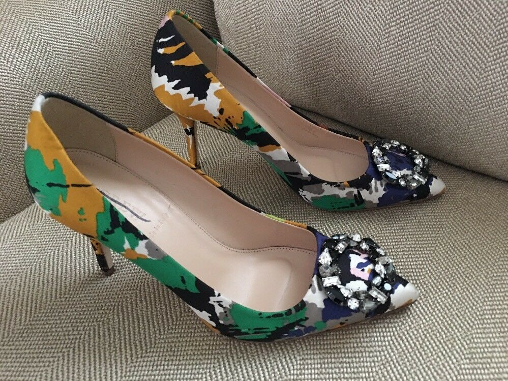 New JCrew  378 Collection Elsie Jeweled Pumps Abstract Print Sz 6.5 F4870 Sold!