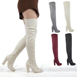 Para-mujer-alto-del-muslo-Bloque-Talon-Damas-Moda-Sobre-la-Rodilla-Botas-De-Tacon-Alto-Elastico