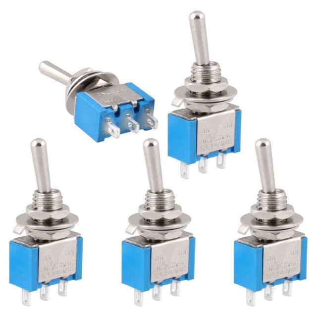 AC 250V/3A 125V/6A ON-OFF 2 Position SPDT Self Lock Toggle Switch 5Pcs U87