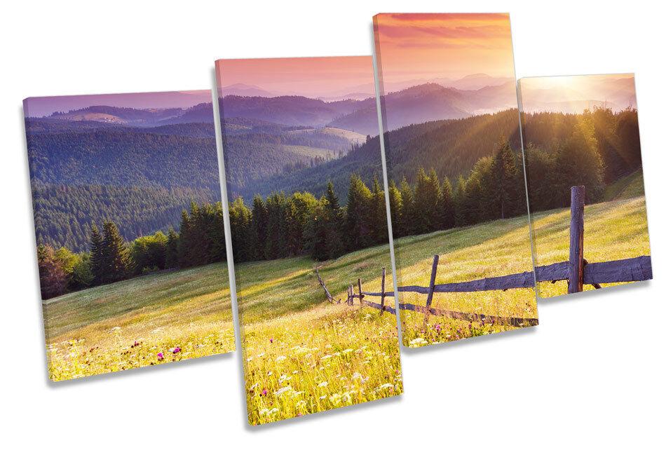 Stunning Landscape Sunset CANVAS WALL ART MULTI  Box Framed