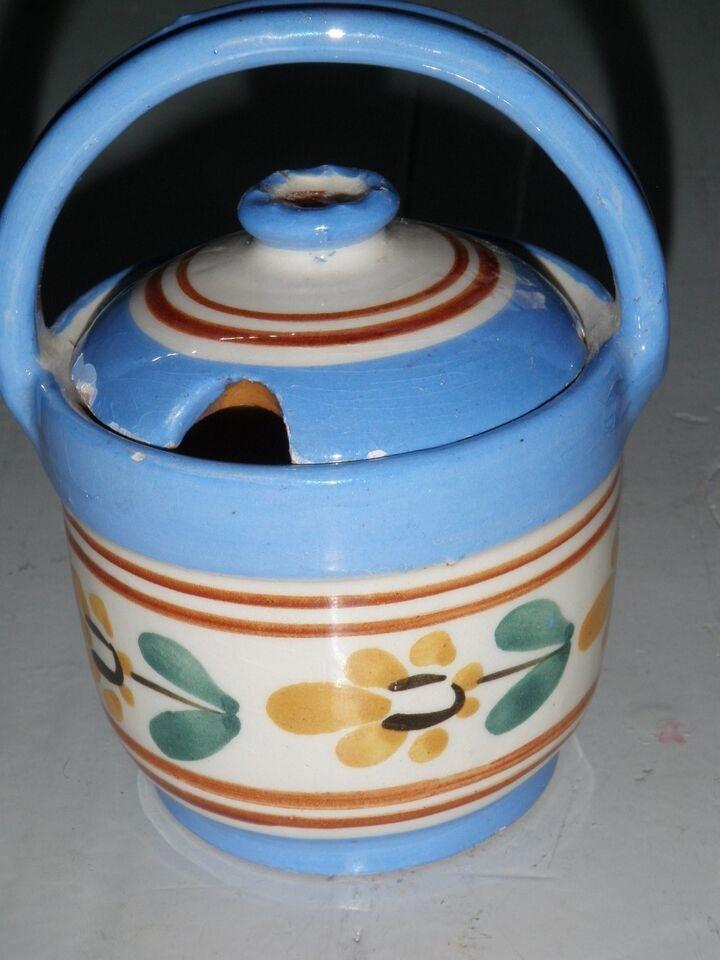 Keramik, lille krukke med hank og låg