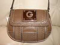 Wt Guess Purse Brown Taupe Cross Body Bag Leather Like Snake Silver Halona