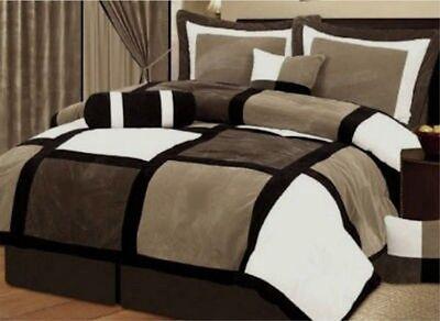 7 PCS  Black & Brown Suede Patchwork Comforter Bedding Set Size Full Queen King