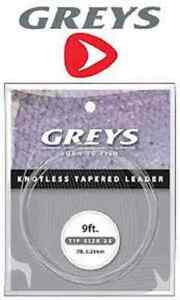 3 x  GREYS GREYLON COPOLYMER  KNOTLESS TAPERED LEADERS   9/'  7lb TIPPET B.S.