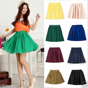 New Women Girl Double Chiffon High Waist Short Pleated Mini Skirt ...
