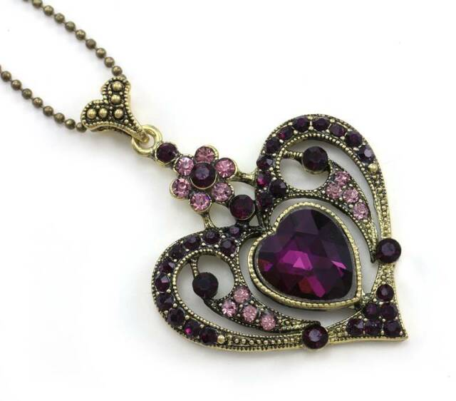Heart Purple Crystal CZ Necklace Chain Pendant Valentine's & Mother's Day Gift