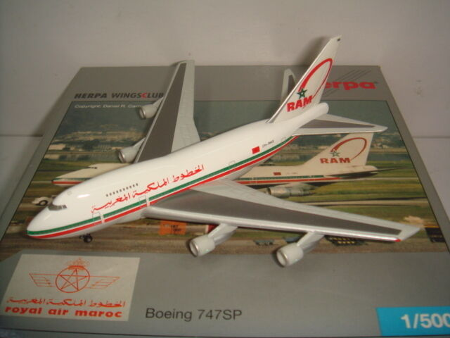 HERPA WINGS 500 ROYAL AIR MAROC B747-SP  1990 S couleur  1 500 NG club model