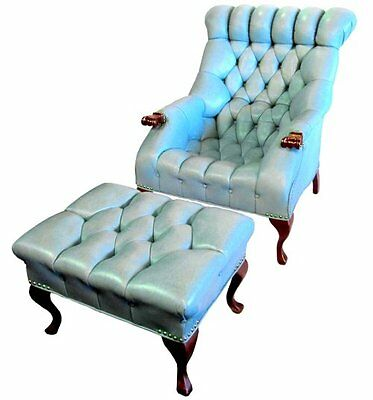 Classic Carl Forslund Sleepy Hollow Orig Tufted Blue Leather Chair Rip Van  Lee