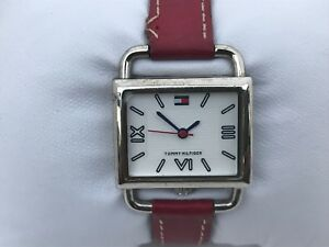 Tommy-Hilfiger-Women-Watch-Red-Leather-Band-Silver-Tone-Case-Wrist-Watch-WR-99ft